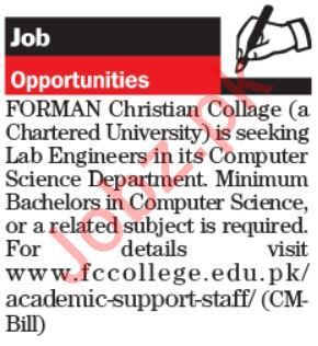 Forman Christian College Jobs 2019 For Lab Engineers