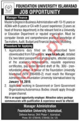 Foundation University Islamabad Job 2019 For Manager Finance