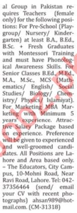 The Educators Teaching Jobs 2019 For Lahore