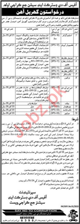 District & Session Judge Office Karachi Jobs 2019 via STS