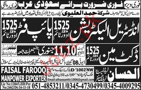 Industrial Electrician, Pipe Fitter & Duct Man Jobs 2019