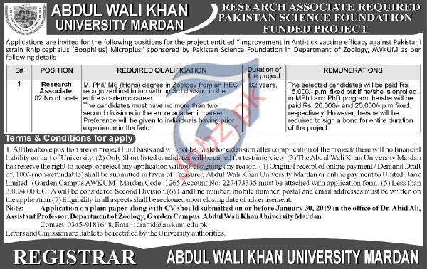 Abdul Wali Khan University Research Associate Jobs 2019