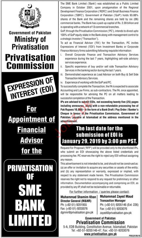Ministry of Privartisation Financial Advisor Jobs 2019