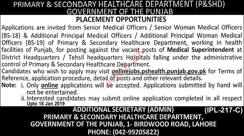 Primary & Secondary Healthcare Department Jobs 2019