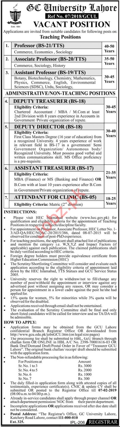 Government College GC University Lahore Jobs 2019