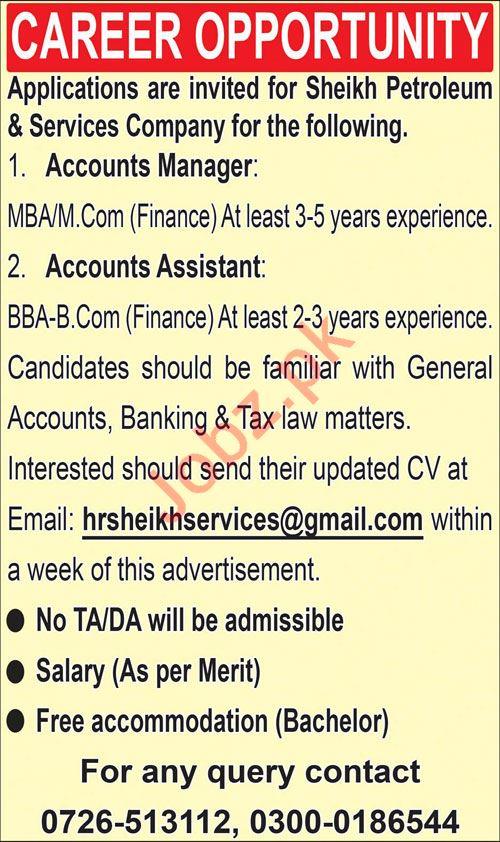 Accounts Manager & Accounts Assistant Jobs 2019