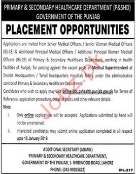Primary & Secondary Healthcare Department Medical Jobs