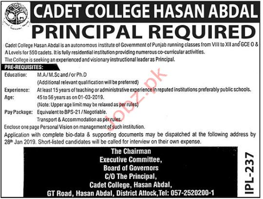 Cadet College Hasan Abdal Preincipal Jobs 2019