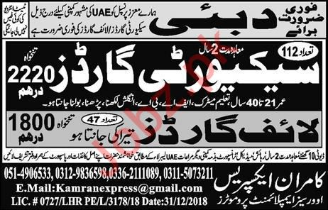 Security Guard & Life Guard Jobs 2019 in Dubai