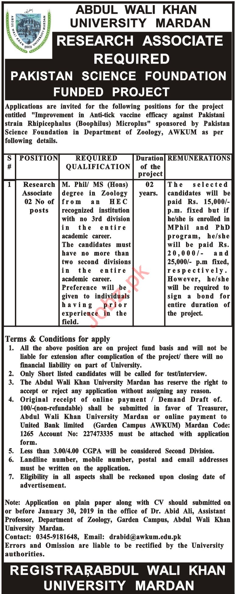 Abdul Wali Khan University Mardan Research Associate Jobs