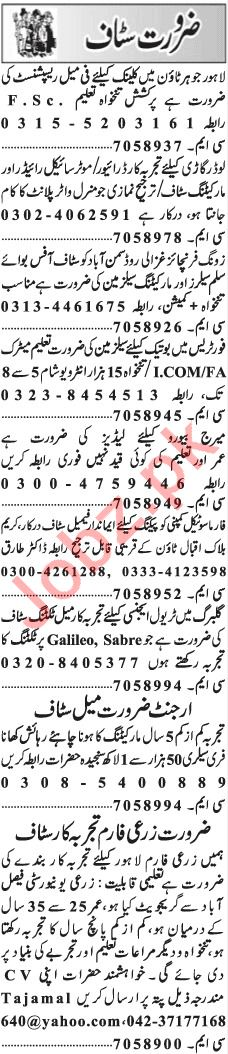 Daily Jang Newspaper Classified Ads 11th Jan 2019