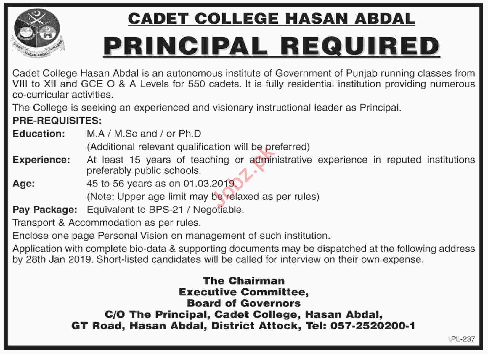 Cadet College Hasan Abdal Jobs 2019 for Principal