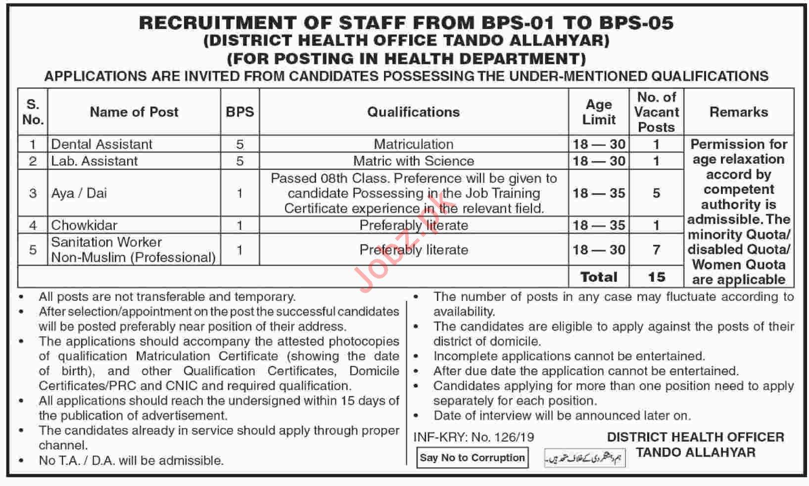 District Health Office Tando Allahyar Job 2019