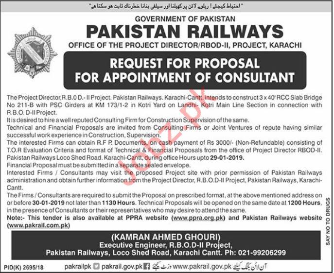 Pakistan Railways Consultant Job 2019 in Lahore