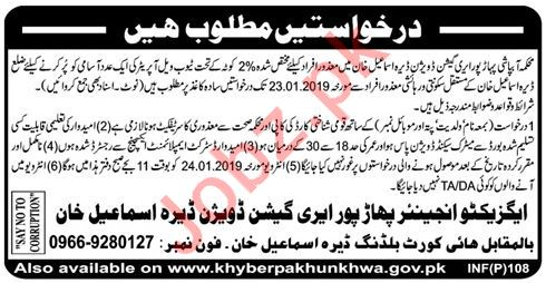 Irrigation Division Job 2019 For Dera Ismail DI Khan
