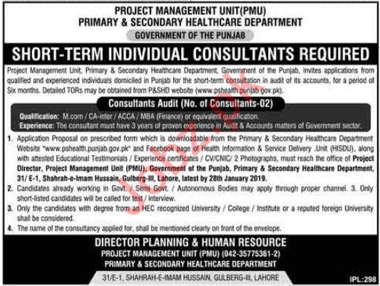 Project Management Unit PMU Consultants Audit Jobs 2019