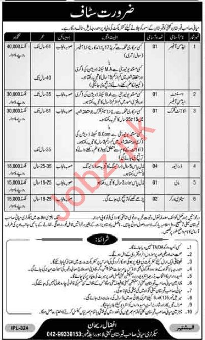 Miani Sahib Graveyard Company Jobs 2019 in Lahore