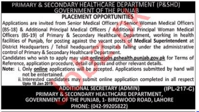 Primary & Secondary Healthcare Department P&SHD Jobs 2019