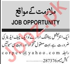Chief Editor Jobs Career Opportunity
