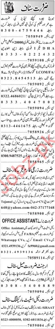 Management Staff Jobs 2019 in Lahore