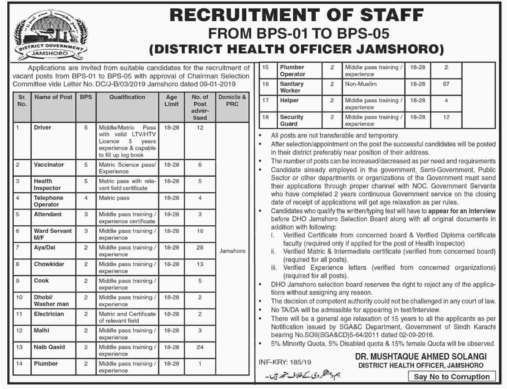 Dictrict Health Officer Driver Jobs 2019