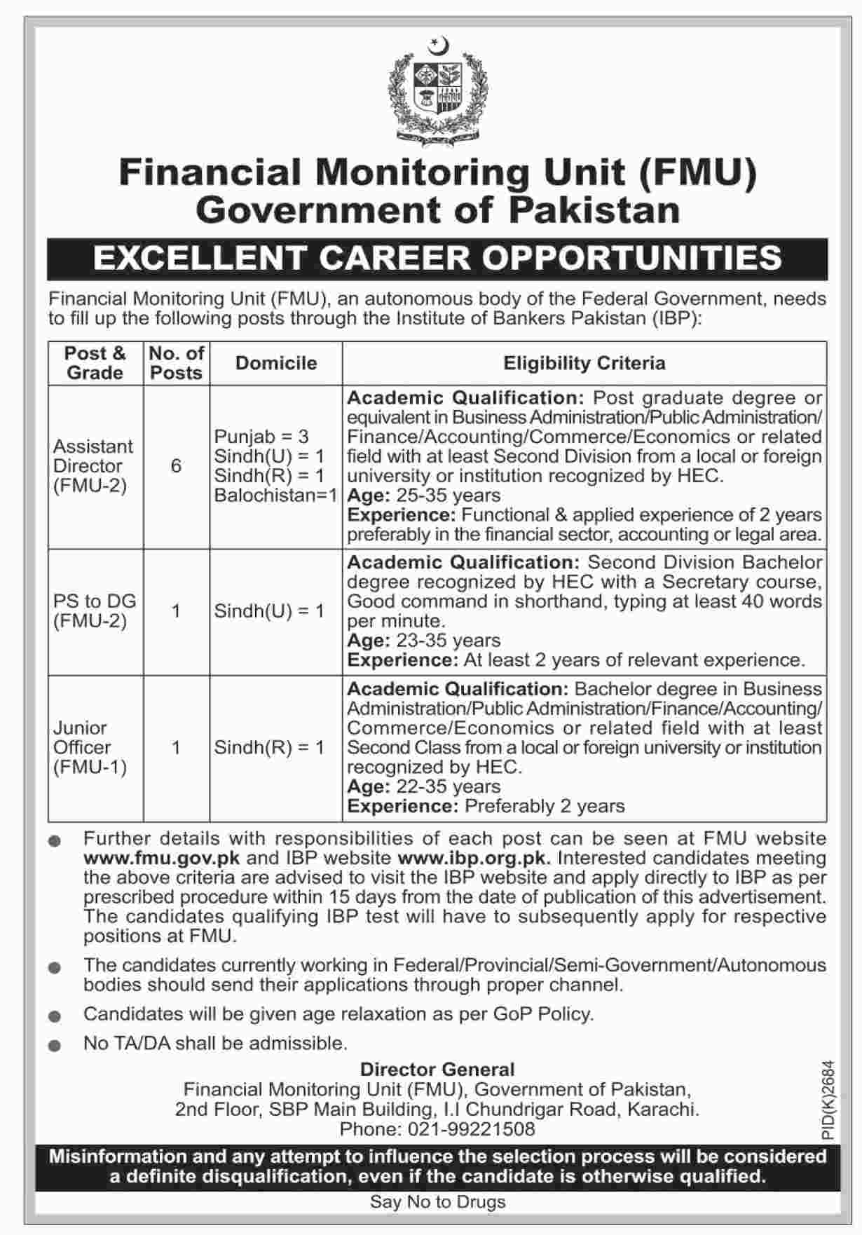 Assistant Director Jobs in Financial Monitoring Unit FMU