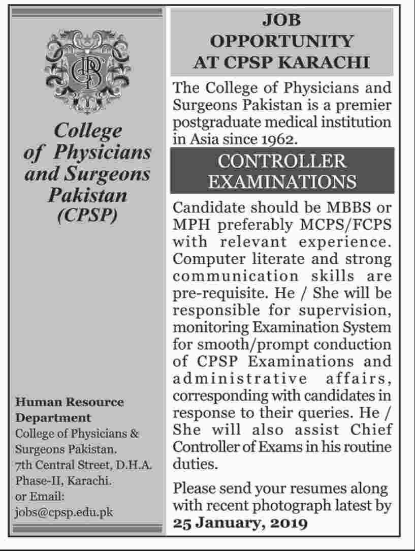 College of Physicians & Surgeons Pakistan CPSP Jobs