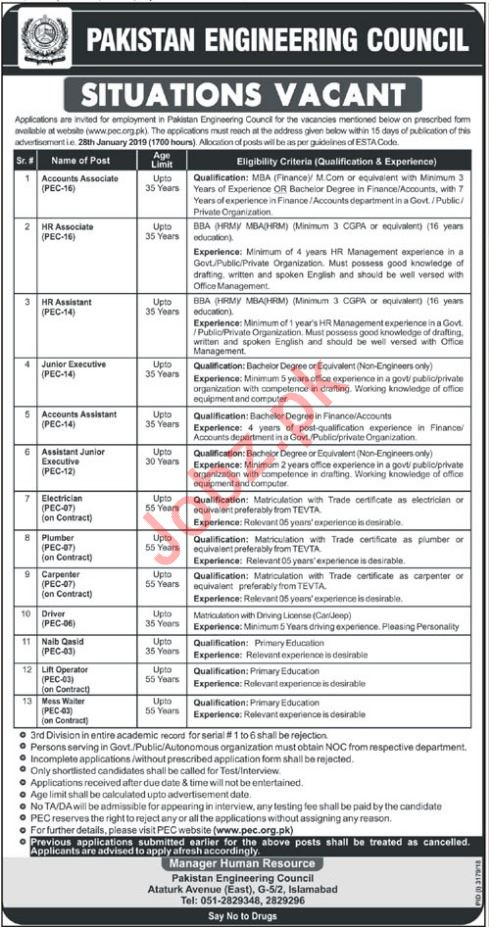 Pakistan Engineering Council PEC Jobs 2019 For Islamabad