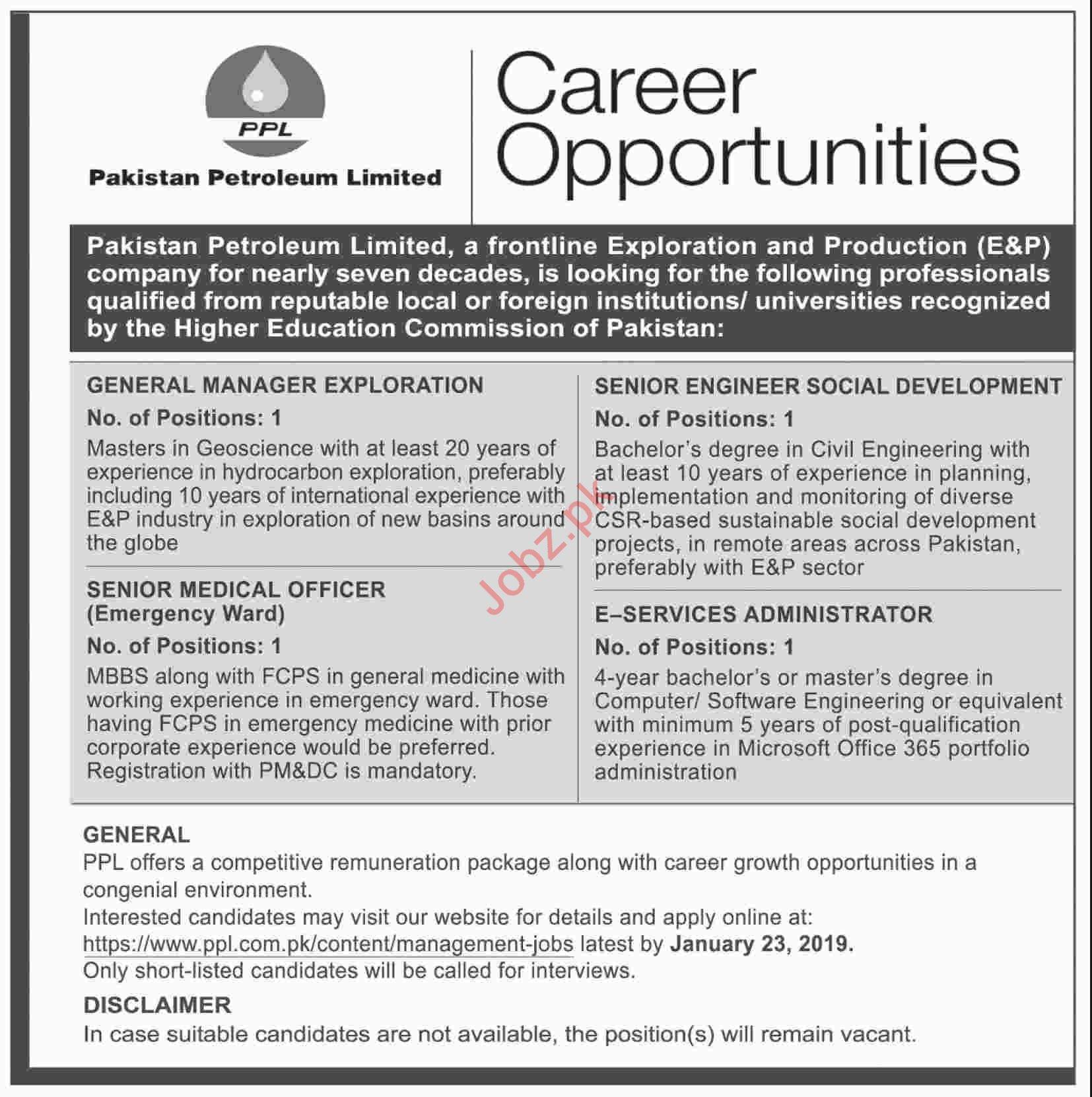 Pakistan Petroleum Limited Jobs 2019 in Karachi