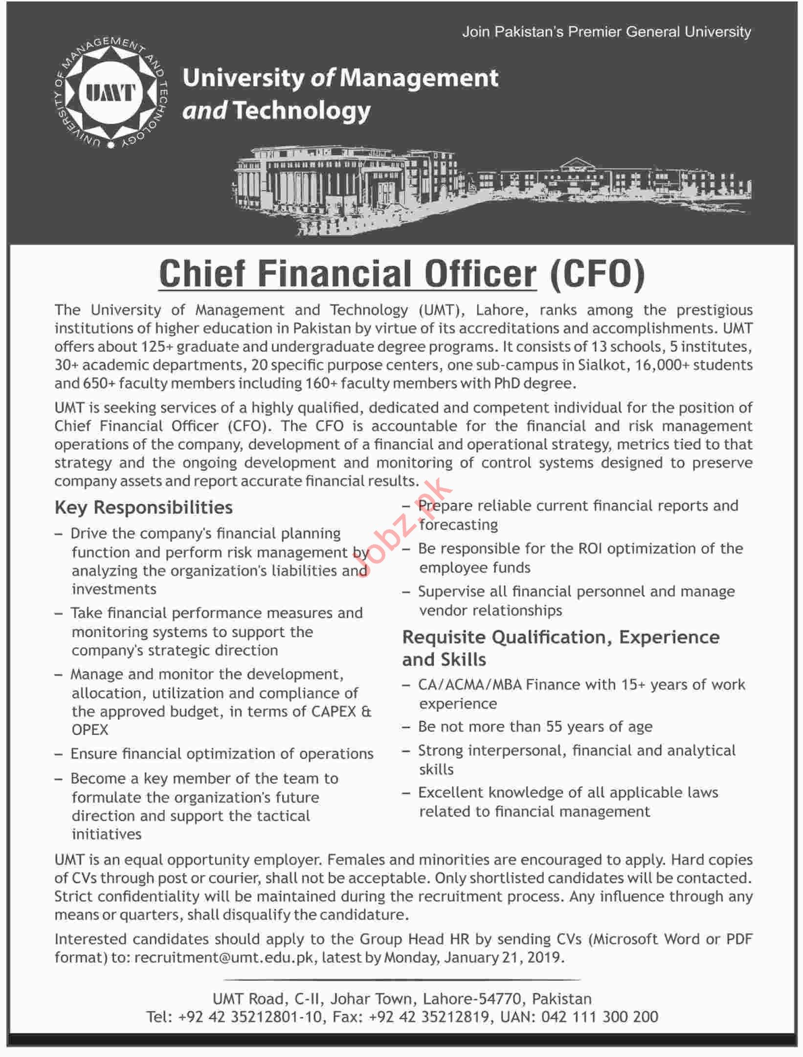 University of Management and Technology CFO Jobs 2019