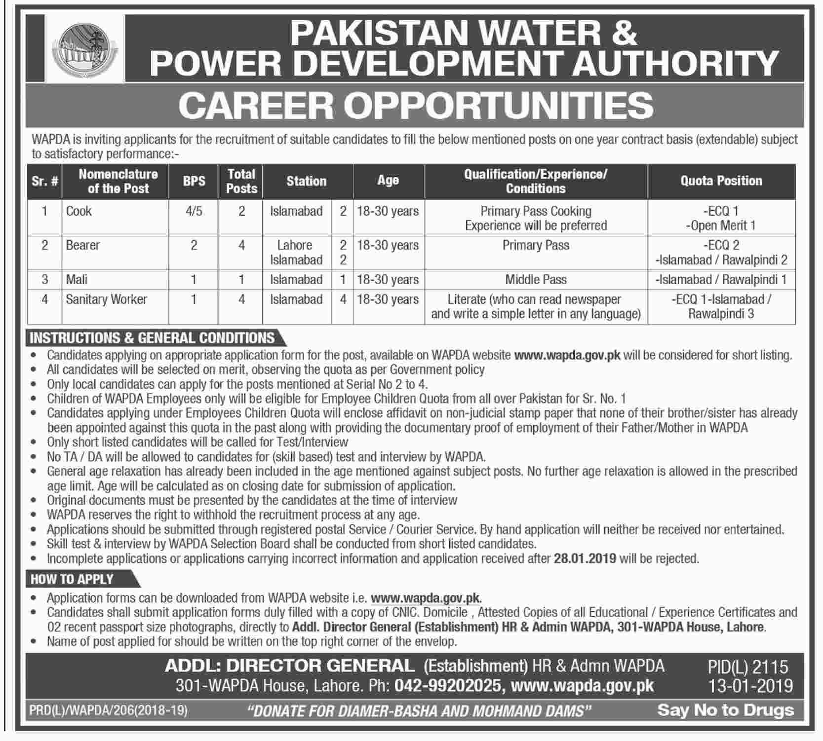 Cook Jobs in Pakistan Power Development Authority