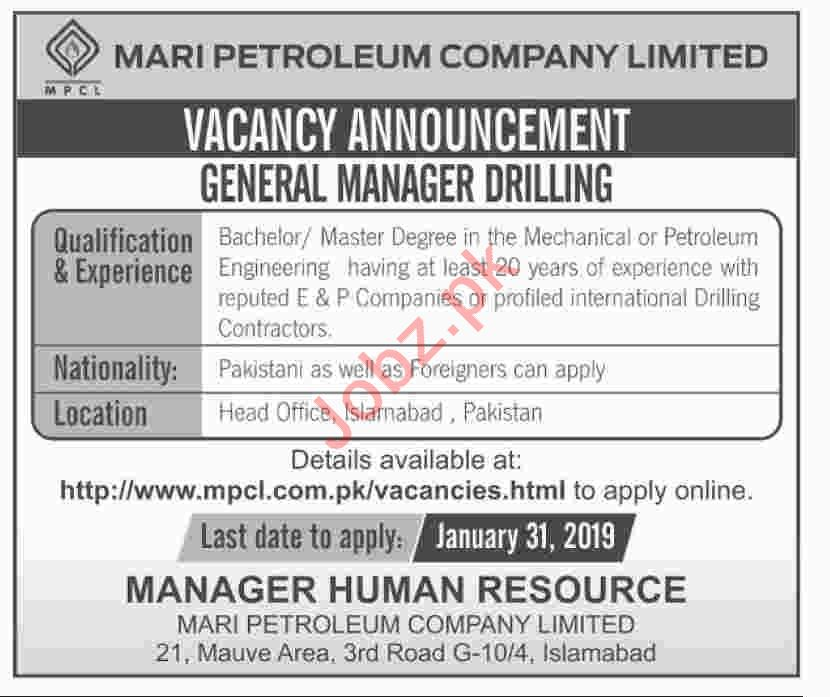 Mari Petroleum Company Limited Job 2019 For General Manager