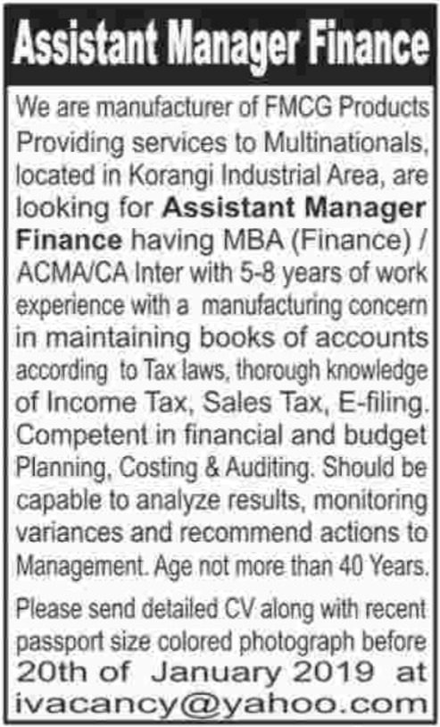Assistant Manager Finance Jobs in Private Company