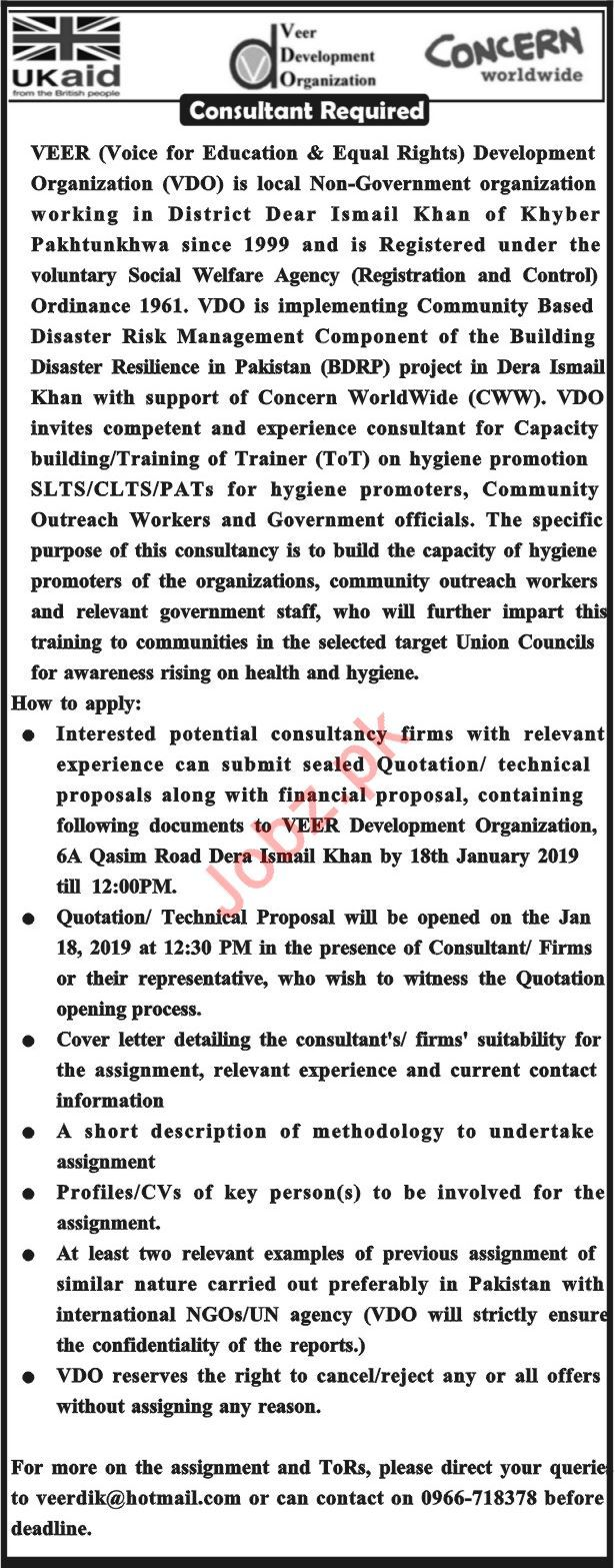 Concern Worldwide NGO Consultant Job 2019 in DI Khan