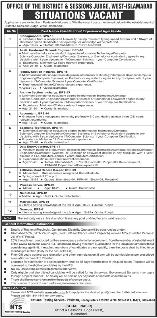 District & Session Judge West Islamabad Jobs 2019