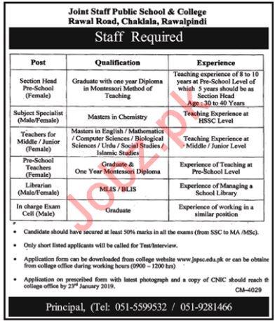 Joint Staff Public School & College Rawalpindi Jobs 2019