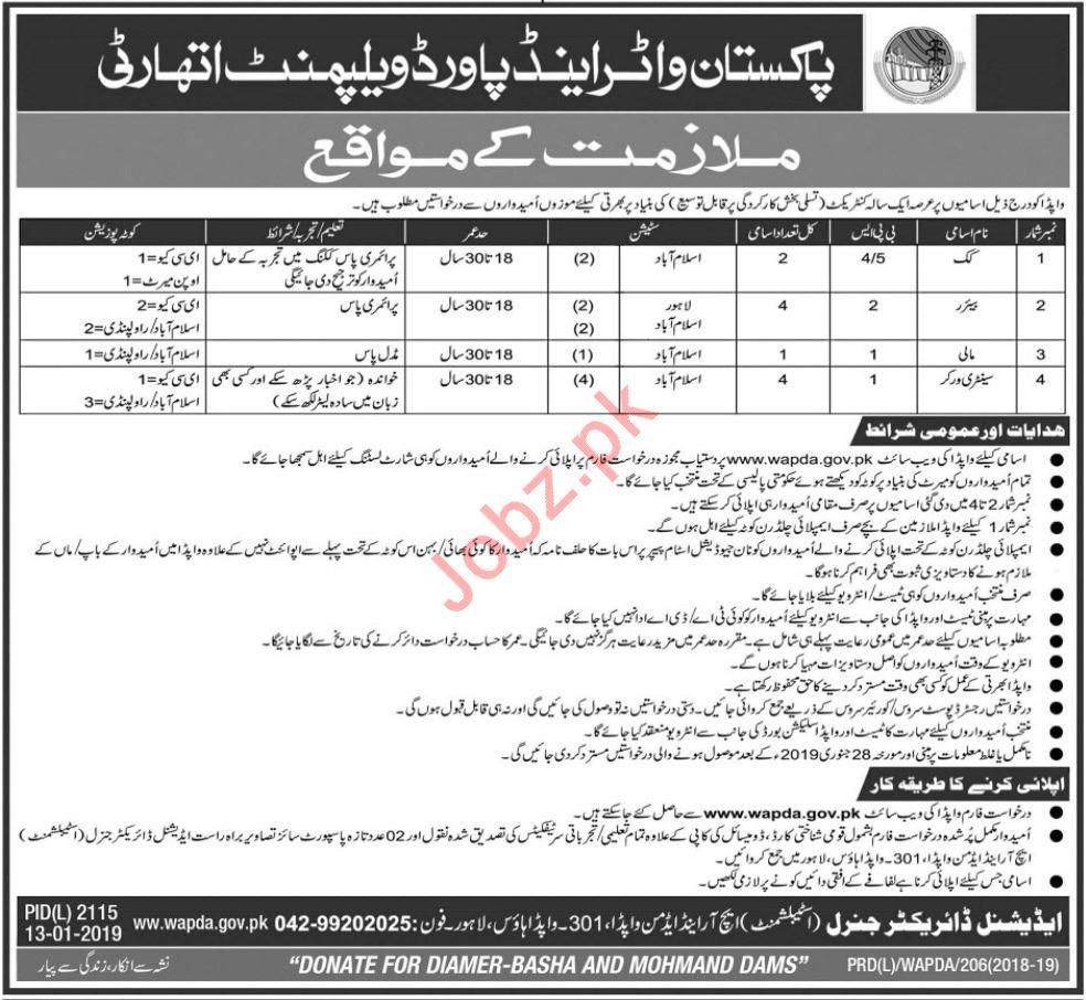Pakistan Water & Power Development Authority WAPDA Jobs 2019
