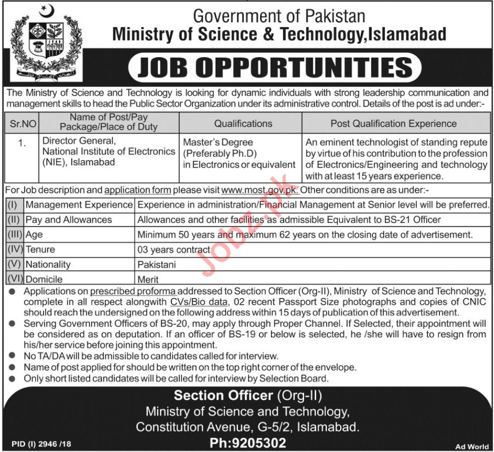 Ministry of Science & Technology Director General Job 2019