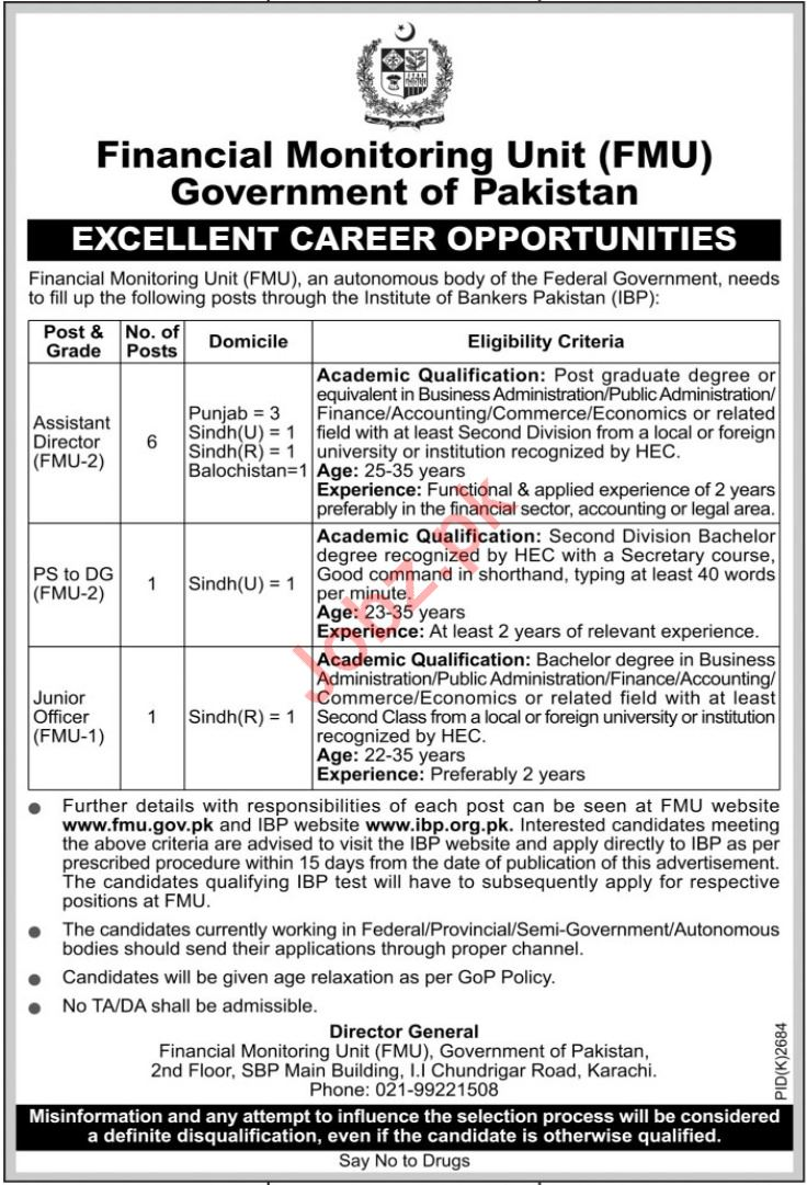 Financial Monitoring Unit FMU Jobs 2019 in Karachi