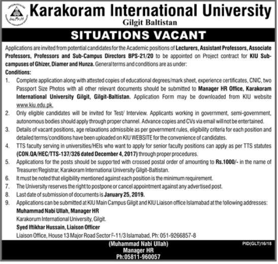Karakoram International University Professor Jobs 2019