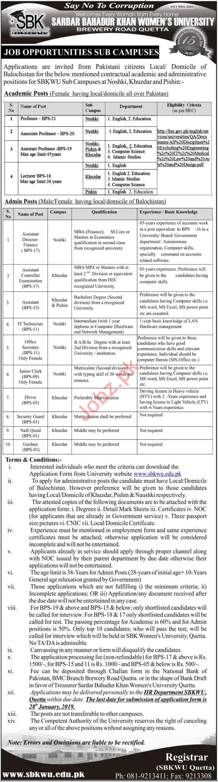 Sardar Bahadur Khan Women University Jobs 2019