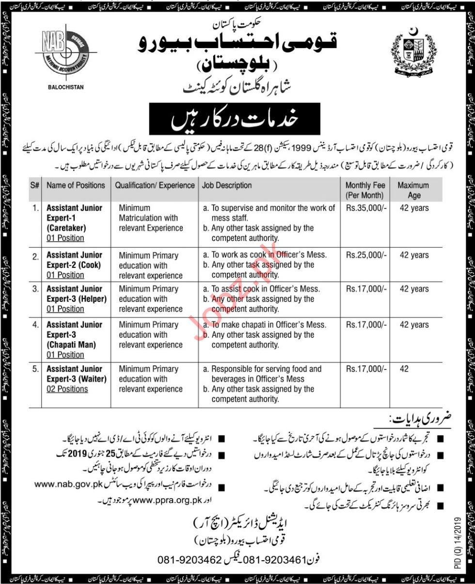 National Accountability Bureau NAB Jobs 2019 in Quetta Cantt