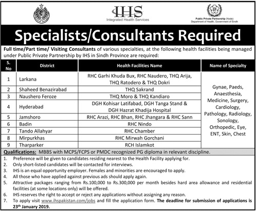 Consultant Jobs in Integrated Health Services IHS