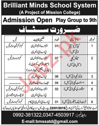 Brilliant Minds School System Jobs 2019 in Abbottabad KPK