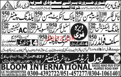 Tile Fixer, Steel Fixer, Scaffolder, AC Technician Jobs
