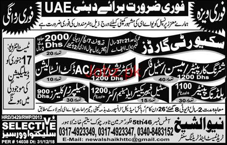Shuttering Carpenter, Security Guards Job Opportunity