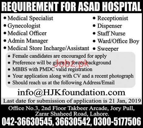 Gynecologist, Medical Officer, Admin Manager Jobs