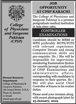College of Physicians & Surgeons Pakistan CPSP Job 2019
