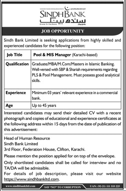 Pool & MIS Manager Jobs in Sindh Bank