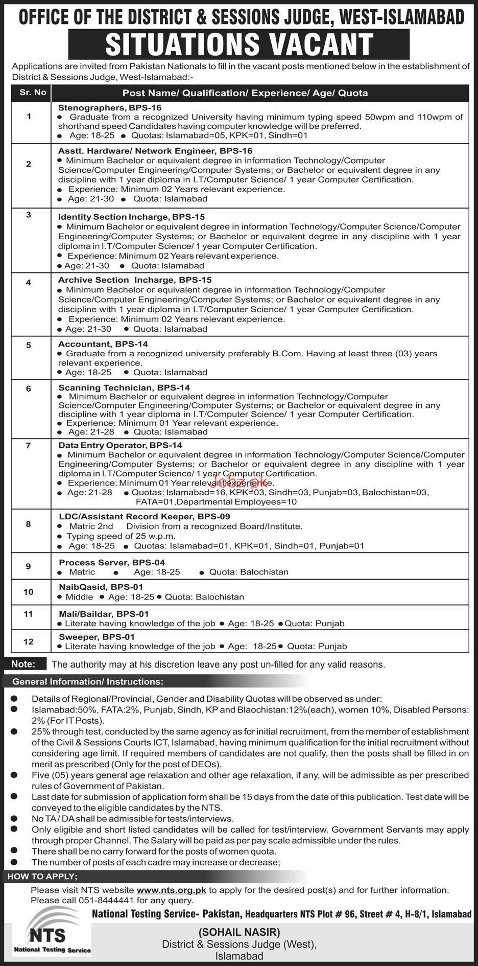District & Session Judge West Islamabad Jobs